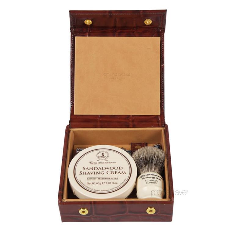 Taylor Of Old Bond Street Luksus Rejsesæt med Skraber, Barberkost og Barbercreme, Sandeltræ, Brunt Læder