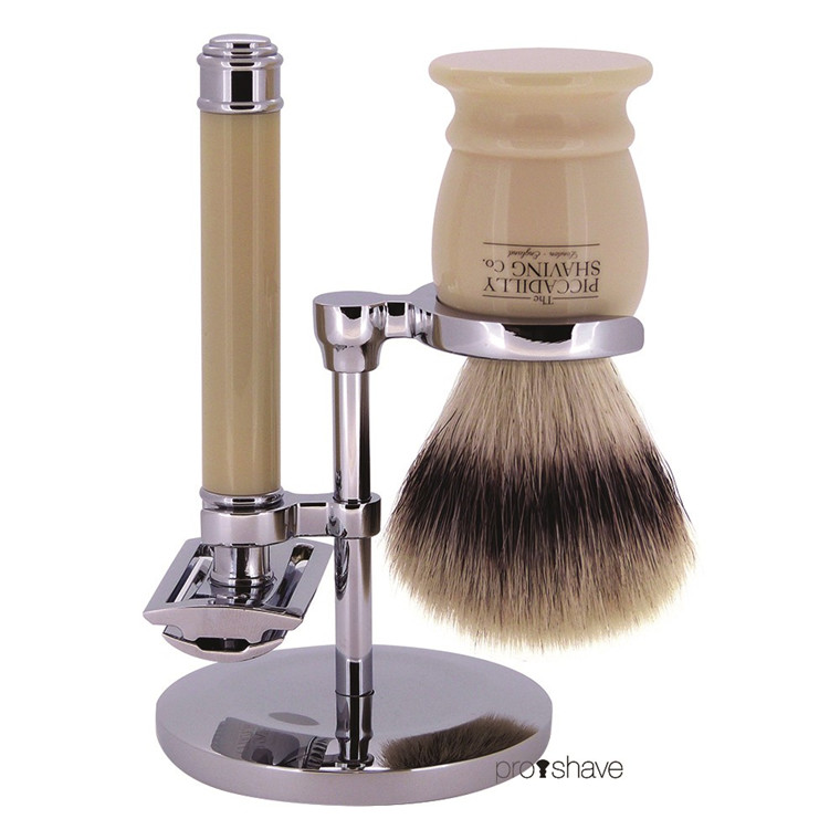 Piccadilly Shaving Barbersæt med DE-skraber, Imiteret Badger Barberkost og Holder, Ivory