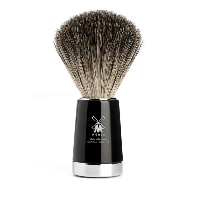 Mühle Pure Badger Barberkost, 21 mm, Liscio, Sort Kunstharpiks