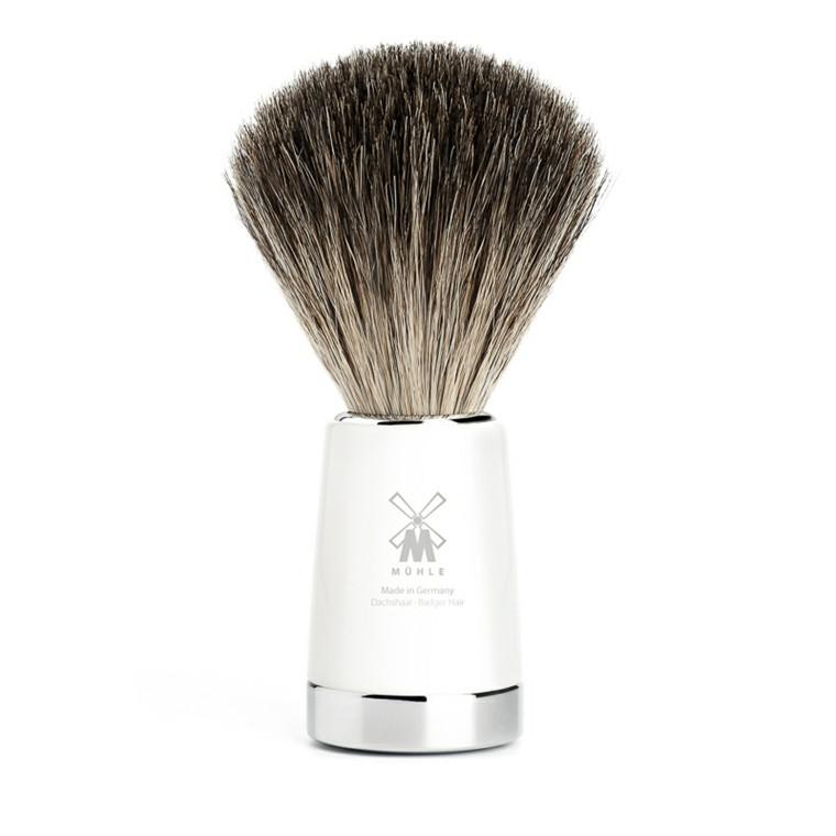 Mühle Pure Badger Barberkost, 21 mm, Liscio, Hvidt kunstharpiks