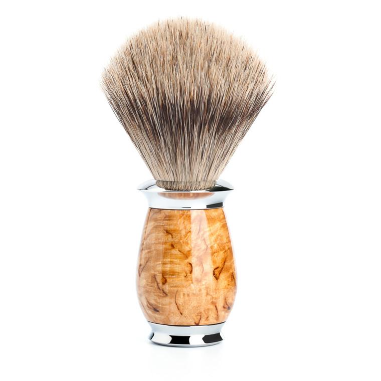 Mühle Fine Badger Barberkost, 21 mm, Purist, Karelian burl birk