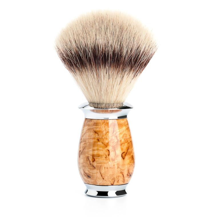 Mühle Silvertip Fibre® Barberkost, 21 mm, Purist, Karelian burl birk