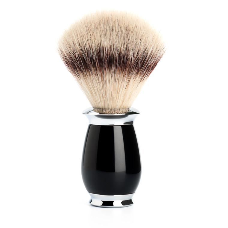 Mühle Silvertip Fibre® Barberkost, 21 mm, Purist, Sort Kunstharpiks