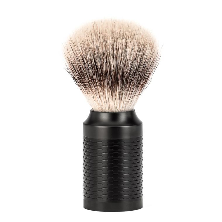Mühle Silvertip Fiber® Barberkost, 21 mm, Rocca, Sort rustfrit stål