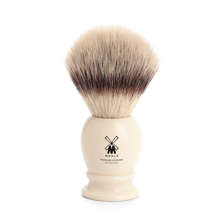 Mühle Silvertip Fibre® Barberkost, 23 mm, Classic, Hvid Kunstharpiks