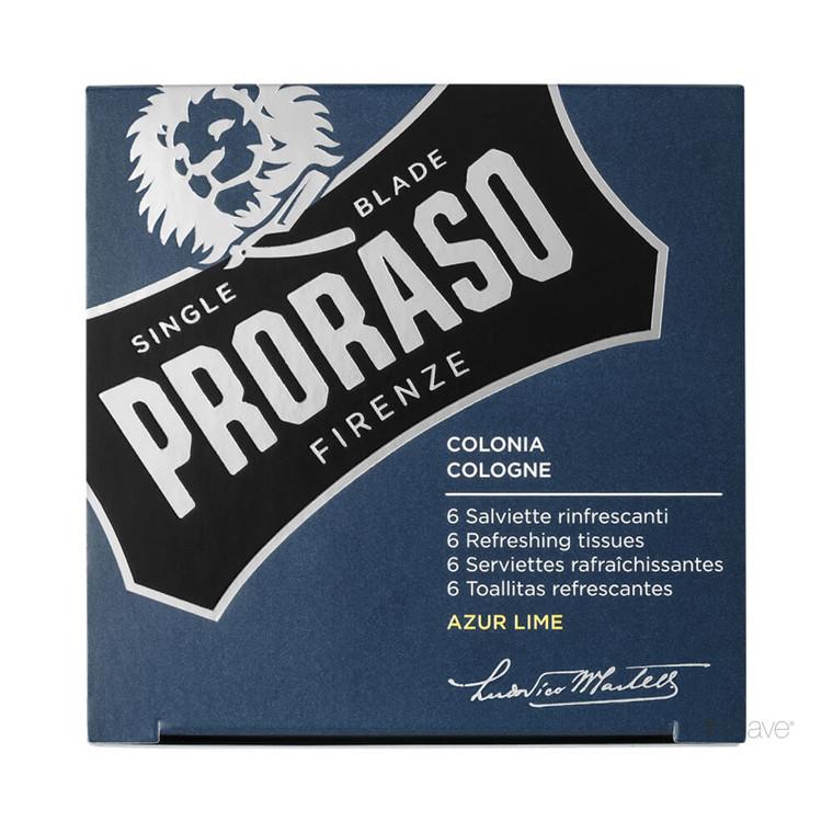Proraso Opfriskende Cologne-servietter, Azur Lime, 6 stk.