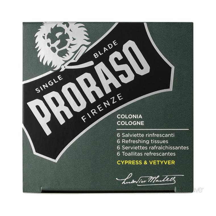 Proraso Opfriskende Cologne-servietter, Cypress & Vetiver, 6 stk.