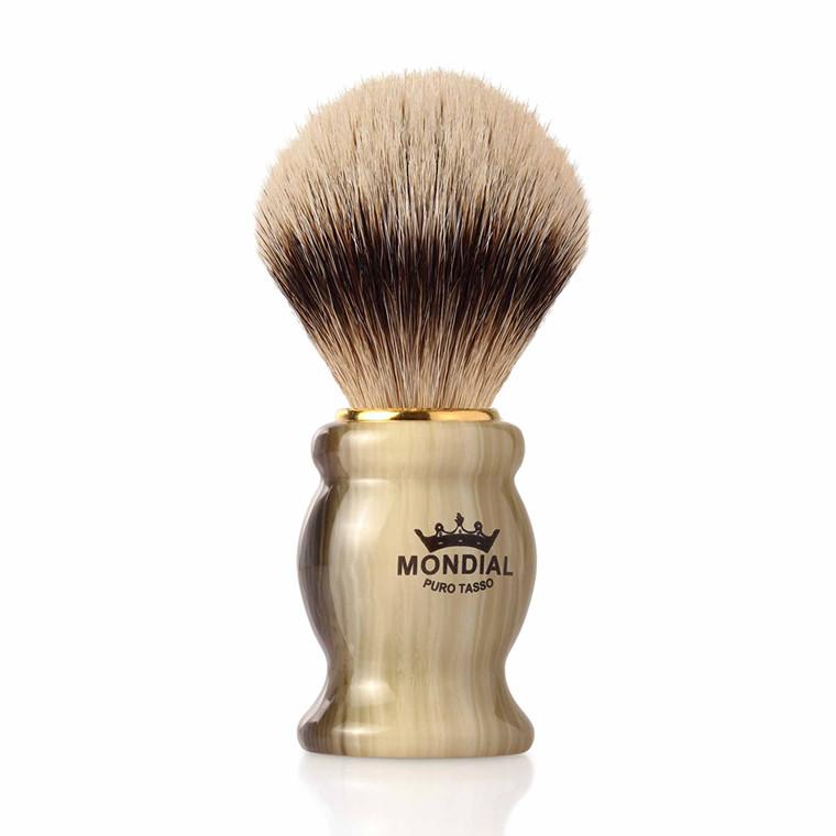 Mondial Silvertip Badger Barberkost, Tudor, 22 mm, Imit. horn