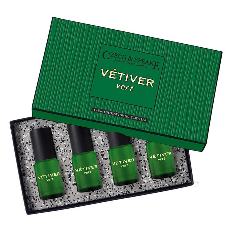 Czech & Speake Vetiver Vert, Cologne For The Traveller, 4 x 15 ml.
