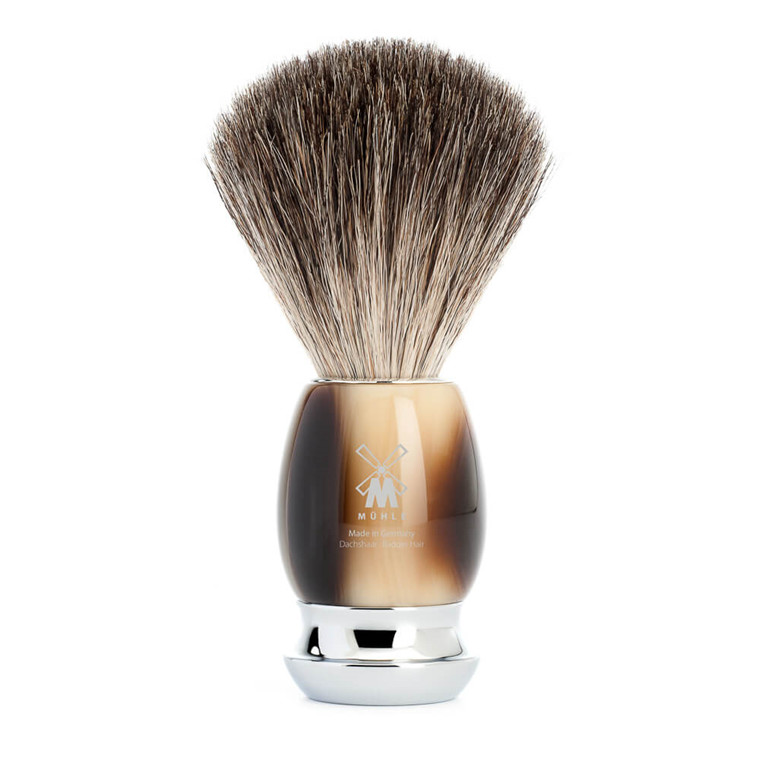 Mühle Pure Badger Barberkost, 21 mm, Vivo, Brunt Horn