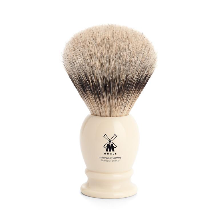 Mühle Silvertip Barberkost, 23 mm, Classic, Hvid Kunstharpiks