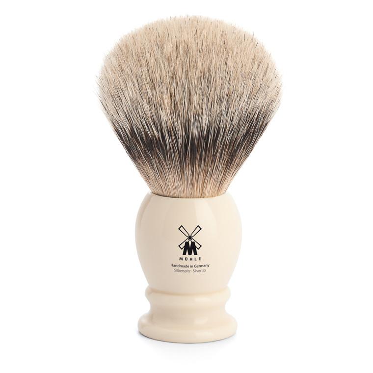 Mühle Silvertip Barberkost, 25 mm, Classic, Hvid Kunstharpiks
