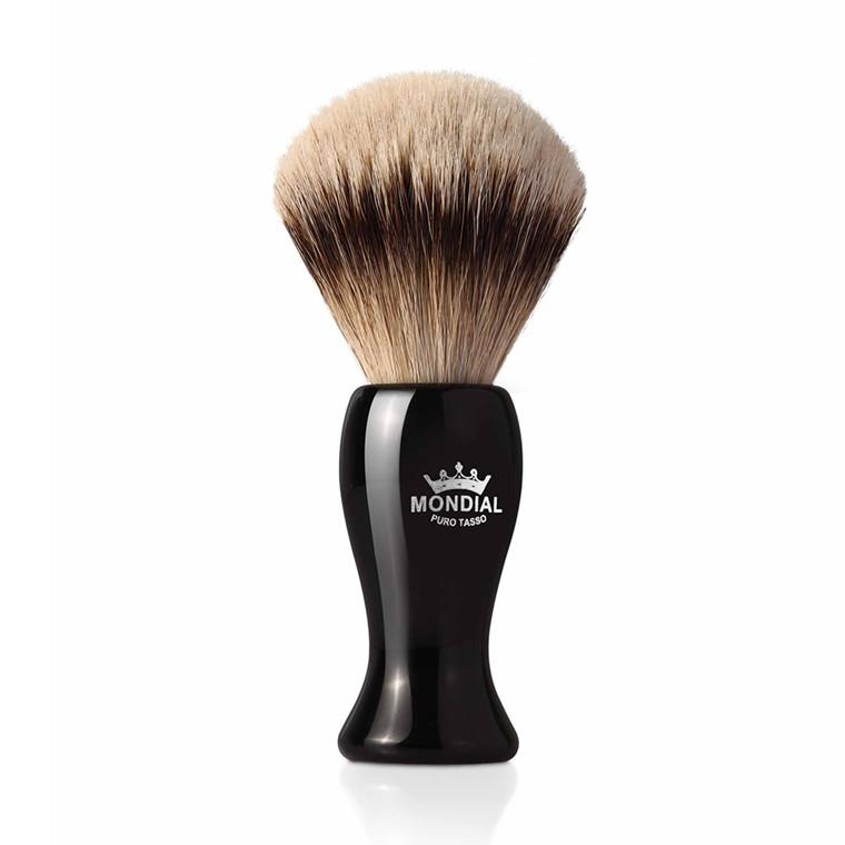 Mondial Silvertip Badger Barberkost, Bolton, 22 mm, Sort kunstharpiks