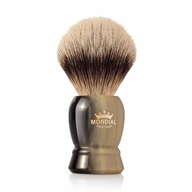 Mondial Silvertip Badger Barberkost, Burton, 22 mm, Imit. Horn