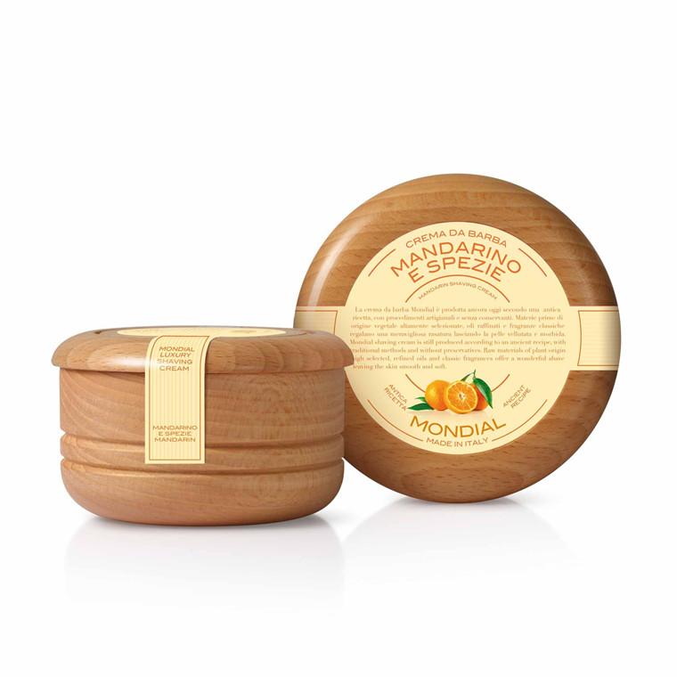Mondial Shaving Barbercreme i træskål, Mandarin & Spice, 140 ml.
