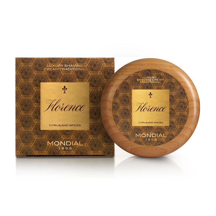 Mondial Florence Luksus Barbercreme i træskål, 140 ml.