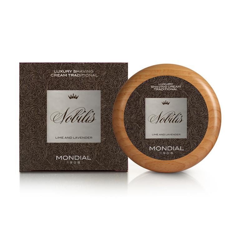 Mondial Nobilis Luksus Barbercreme i træskål, 140 ml.