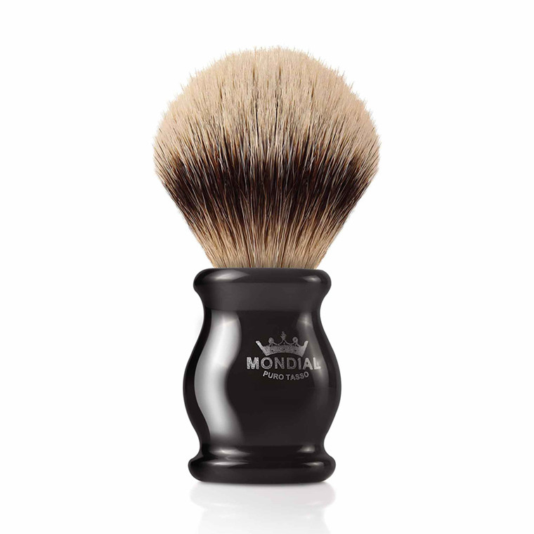 Mondial Silvertip Badger Barberkost, Ebony, 22 mm, Sort kunstharpiks