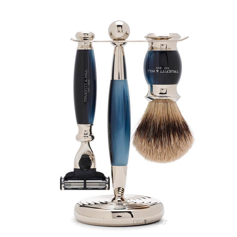 Truefitt & Hill Barbersæt med Fusion Skraber, Grævlingebørste og holder, Edwardian, Faux Blue Opal