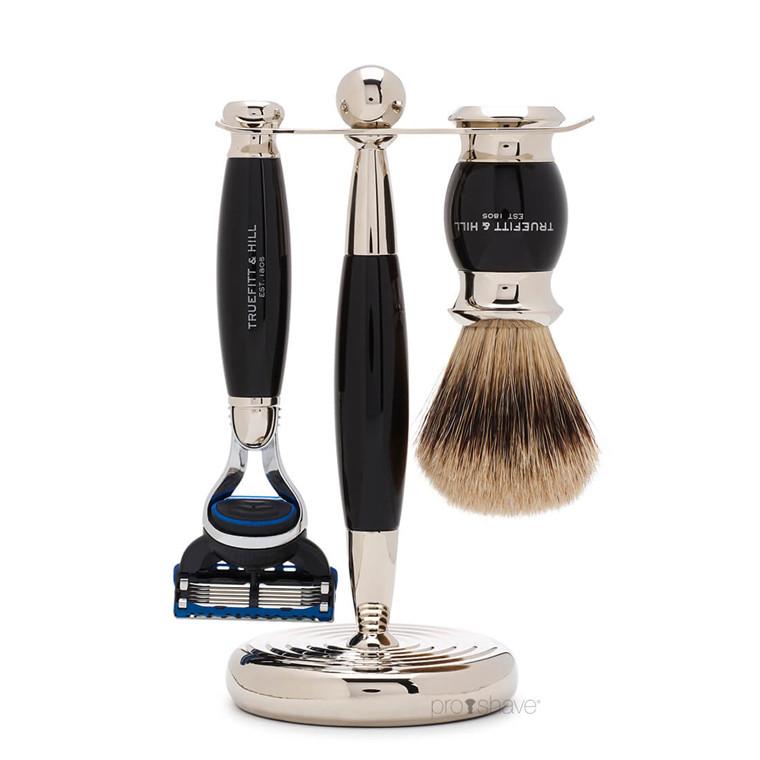 Truefitt & Hill Barbersæt med Fusion Skraber, Grævlingebørste og holder, Edwardian, Faux Ebony