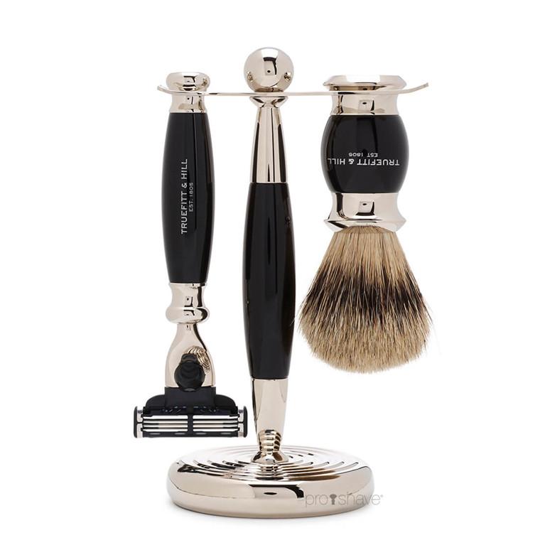 Truefitt & Hill Barbersæt med Mach3 Skraber, Grævlingebørste og holder, Edwardian, Faux Ebony