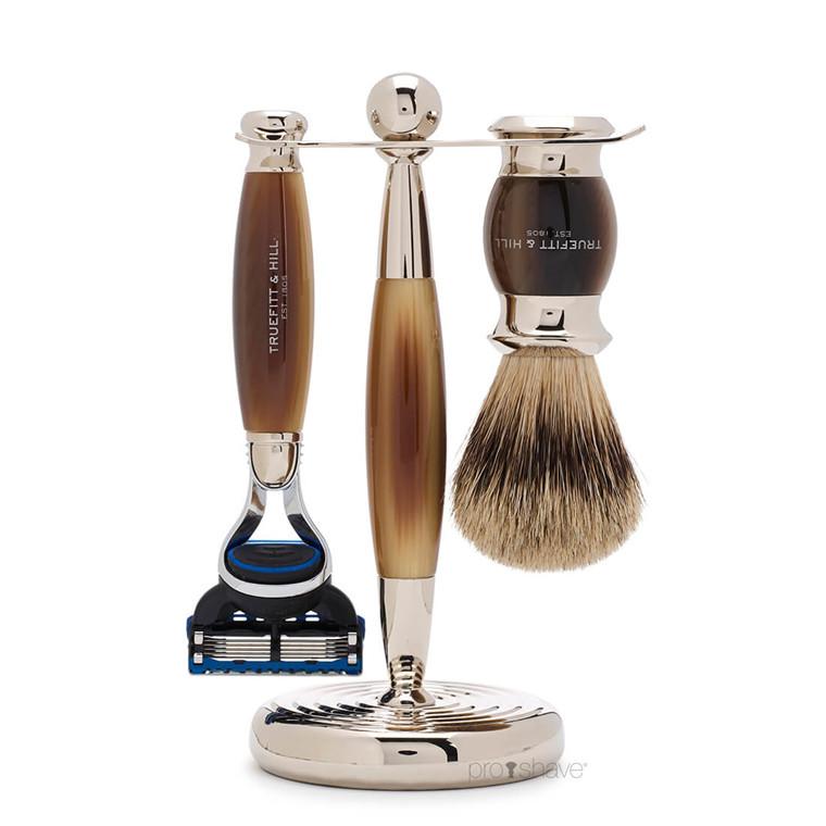 Truefitt & Hill Barbersæt med Fusion Skraber, Grævlingebørste og holder, Edwardian, Faux Horn