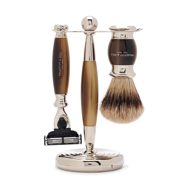 Truefitt & Hill Barbersæt med Mach3 Skraber, Grævlingebørste og holder, Edwardian, Faux Horn