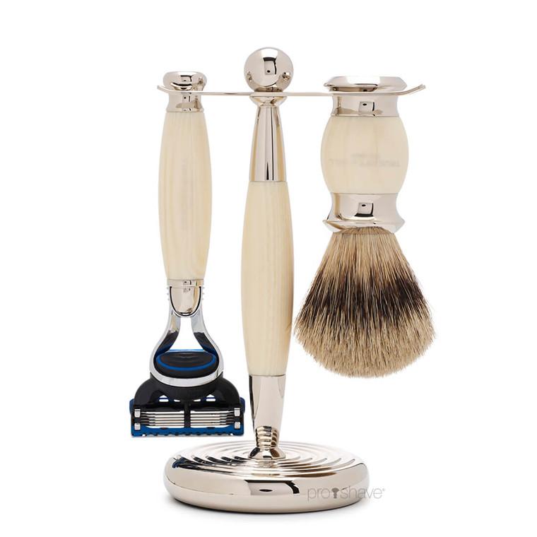 Truefitt & Hill Barbersæt med Fusion Skraber, Grævlingebørste og holder, Edwardian, Faux Ivory