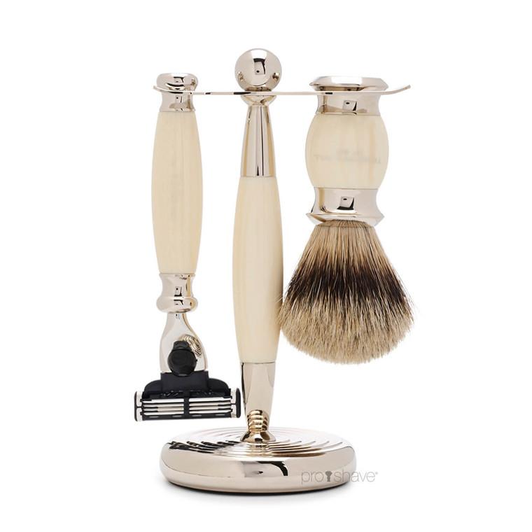 Truefitt & Hill Barbersæt med Mach3 Skraber, Grævlingebørste og holder, Edwardian, Faux Ivory