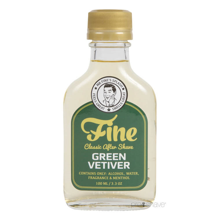 Fine Green Vetiver Classic Aftershave, 100 ml.