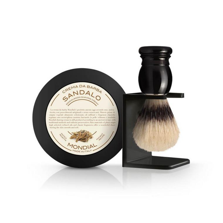 Mondial Gaveæske med Barberkost, Holder og Barbercreme, Sandeltræ