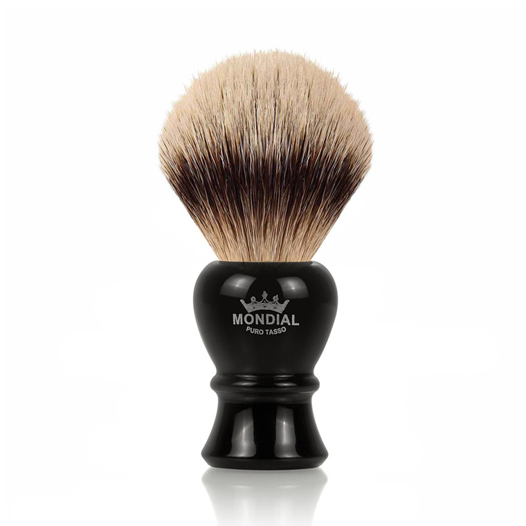 Mondial Silvertip Badger Barberkost, Hunter, 22 mm, Sort kunstharpiks
