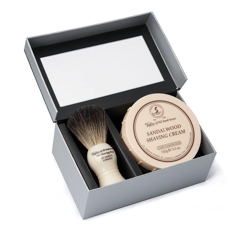 Taylor Of Old Bond Street Gaveæske med Pure Badger Barberkost og Barbercreme, Sandeltræ