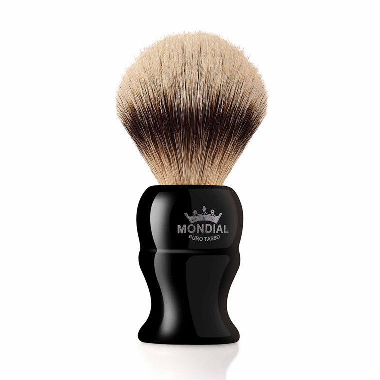 Mondial Silvertip Badger Barberkost, Kinsley, 22 mm, Sort kunstharpiks