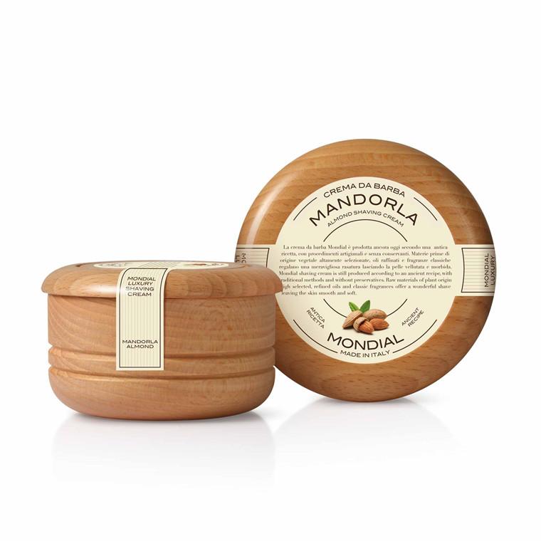 Mondial Shaving Barbercreme i træskål, Mandel, 140 ml.