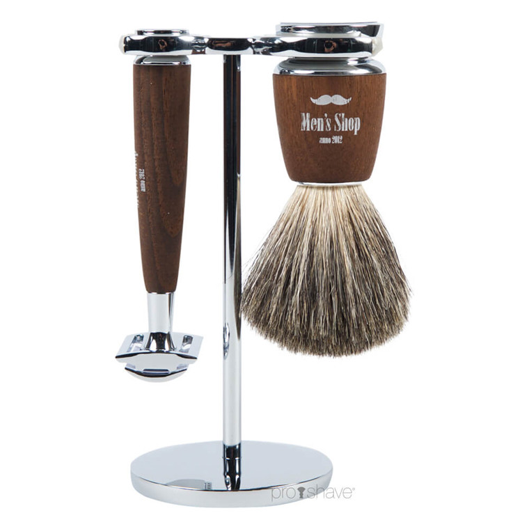 Mühle x Mens Shop Barbersæt med DE-skraber, Barberkost og Holder, Rytmo, Ask
