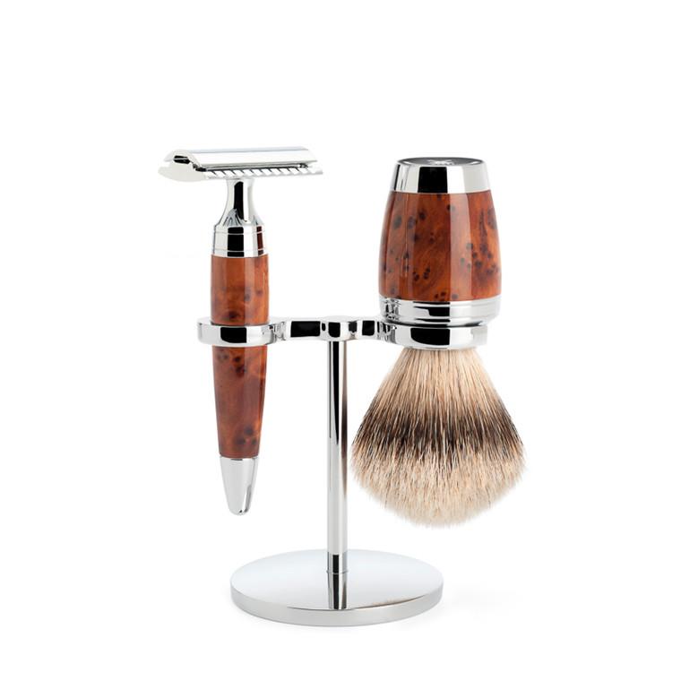 Mühle Barbersæt med DE-skraber, Silvertip Barberkost og Holder, Stylo, Thuja Wood