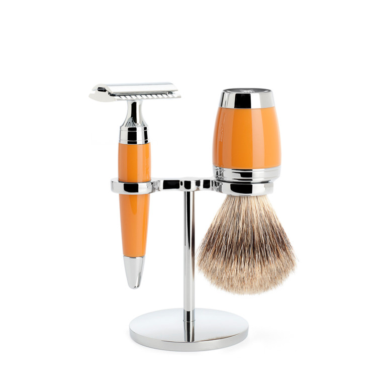 Mühle Barbersæt med DE-skraber, Barberkost og holder, Stylo, Butterscotch