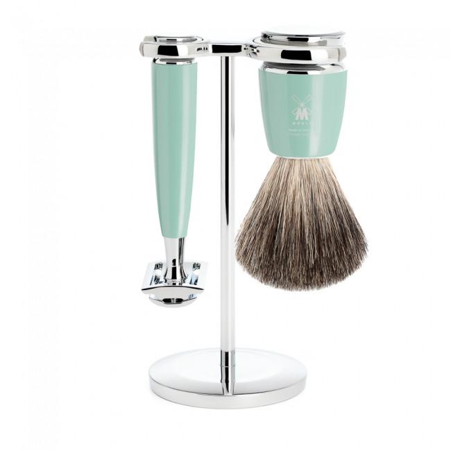 Mühle barbersæt med DE-skraber, Barberkost og Holder, Rytmo, Mintgrøn
