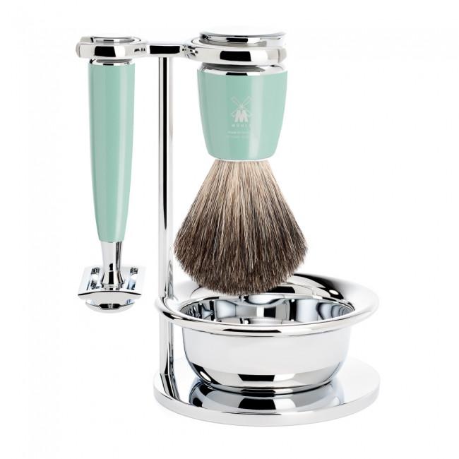 Mühle barbersæt med DE-skraber, Barberkost, Holder og Skål, Rytmo, Mintgrøn