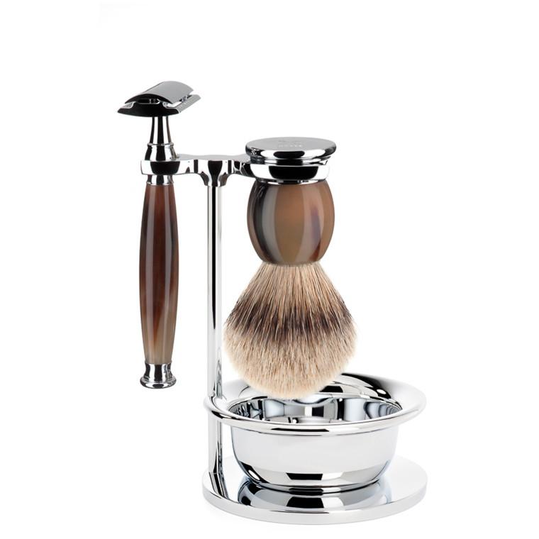 Mühle Barbersæt med DE-skraber, Silvertip Barberkost, holder og skål, Sophist, Genuine Horn