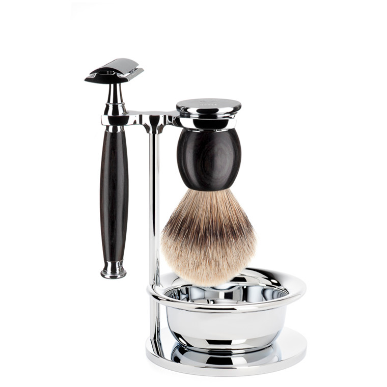 Mühle Barbersæt med DE-skraber, Silvertip Barberkost, holder og skål, Sophist, African Blackwood