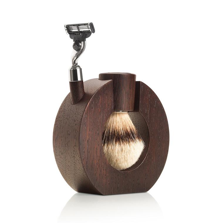 Mondial Barbersæt med Barberkost, Skraber og Holder, Afrikansk wenge træ