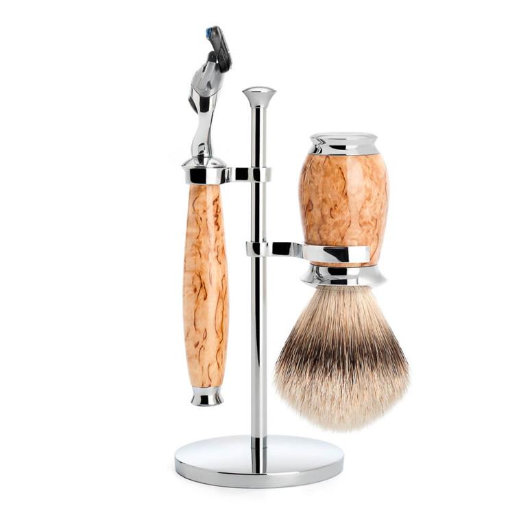 Mühle Barbersæt med skraber, Barberkost og holder, Purist, Karelian Burl Birk