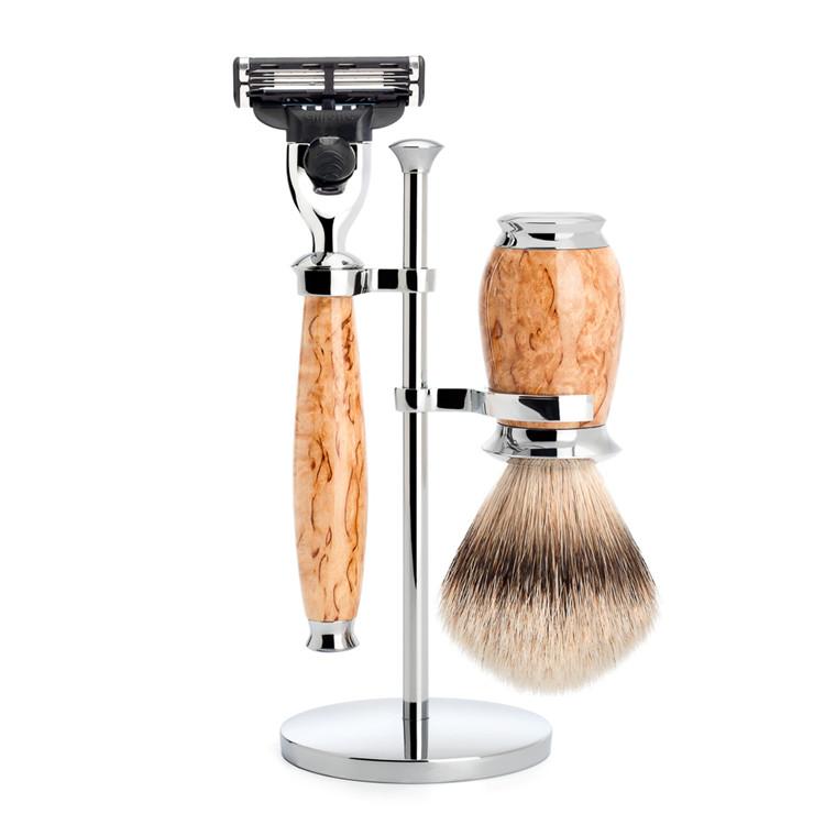 Mühle Barbersæt med Mach3 Skraber, Barberkost og Holder, Purist, Karelian Burl Birk