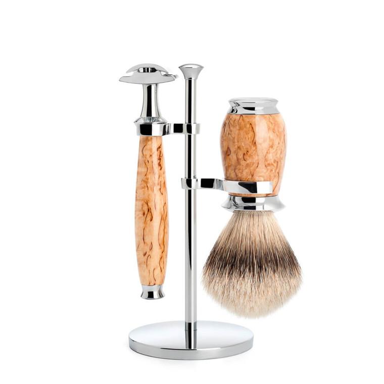 Mühle Barbersæt med DE-skraber, Silvertip Barberkost og holder, Purist, Karelian Burl Birk