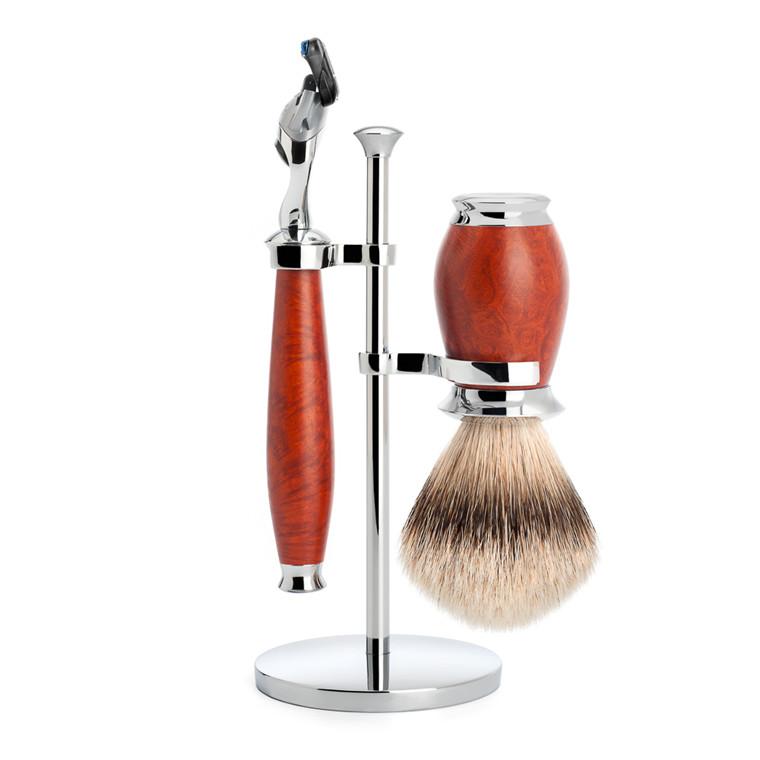 Mühle Barbersæt med skraber, Barberkost og holder, Purist, Briar træ