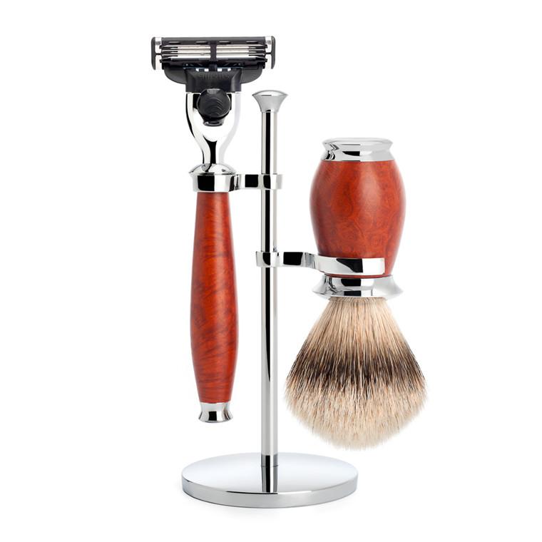 Mühle Barbersæt med Mach3 Skraber, Barberkost og Holder, Purist, Briar træ