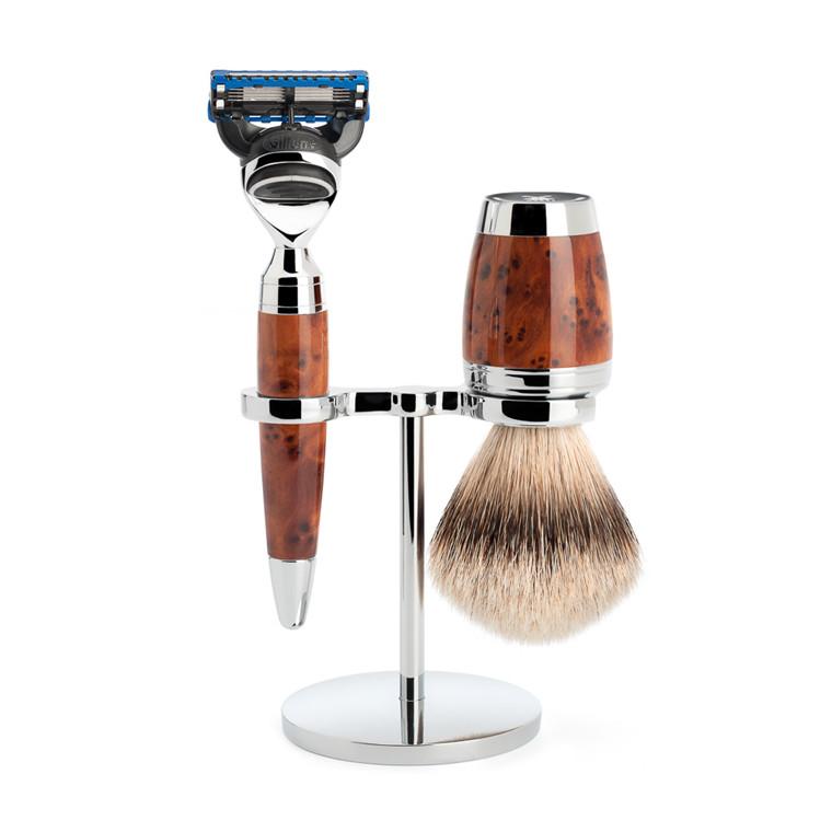 Mühle Barbersæt med Skraber, Silvertip Barberkost og Holder, Stylo, Thuja Wood