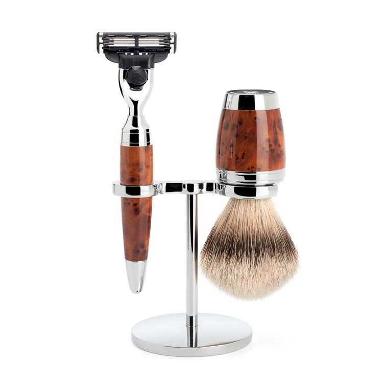 Mühle Barbersæt med Mach3 Skraber, Barberkost og Holder, Stylo, Thuja Wood
